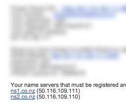 Namesever details for your website.
